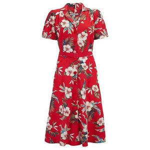 Charlene Shirtwaister Dress in Red Hawaiian Print, Perfect 1950s Style