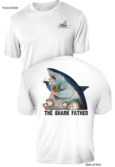 NEW! The Shark Father- UV Sun Protection Shirt - 100% Polyester - Short Sleeve UPF 50