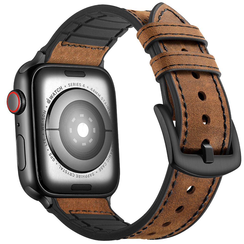 Hybrid Sports Leather Apple Watch Band - Brown