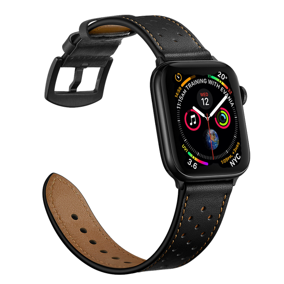 Modern Classic Leather Apple Watch Band - Black