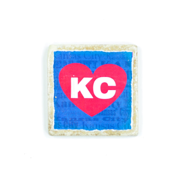 Coasters to Coasters: Blue and Red KC Heart