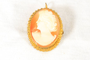 Gold toned Cameo Brooch Pin