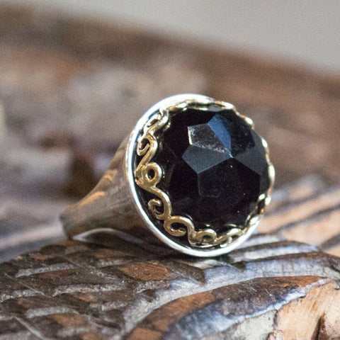 crown ring, black stone ring, Onyx Ring, silver gold ring, gypsy ring, bohemian ring, boho chic jewelry -The deepest jet black R1260