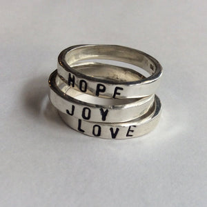 Stackable name rings, stacking rings, Mother rings, promise bands, hope, joy love ring, family rings, lord of the rings - In the Heart R2145