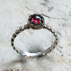 Skinny stacking ring, Silver Garnet ring, birthstone ring, January birthstone ring, silver crown ring, Dainty ring - Keep It Together R2465