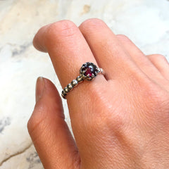 Silver Garnet ring, January birthstone ring, skinny stacking ring, silver crown ring, dainty ring, birthstone ring - Keep It Together R2465
