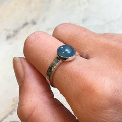 Aquamarine ring, Skinny silver ring, stacking ring, Simple stone ring, birthstone ring, March birthstone ring, Dainty ring - True blue R2466