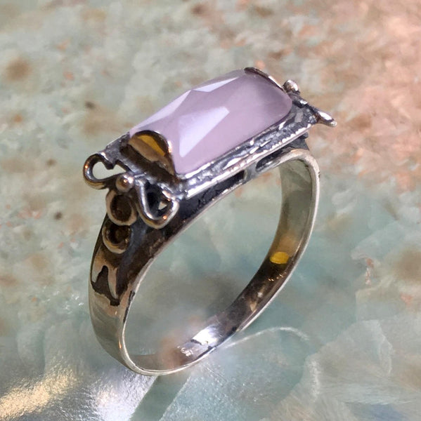 Sterling silver ring, rose quartz ring, gemstone ring, delicate silver ring, stone ring, rectangle stone ring - The sky is the limit R1400