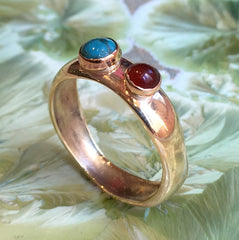 Mothers Birthstone Ring, Birthstone Rings For Mom, Mothers Family Ring, carnelian turquoise ring, Gift For Mom - Keep going R2583