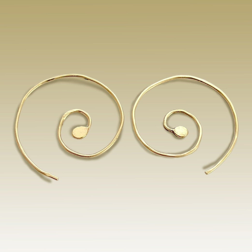 Gold Spiral Hoops, Gold Spiral Earrings, Spiral Earrings, minimal Earrings, dainty Jewelry, wire earrings, boho - Thoughts of You E90028