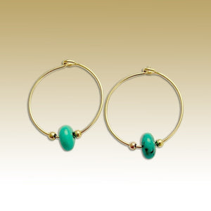 Hoop Earrings, Yellow Gold hoops, Turquoise Jewelry, Turquoise Earrings, Simple Hoop Earring, casual Earrings, dainty - Whisper E90000