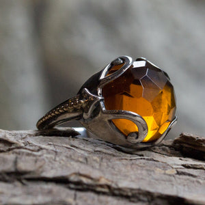 Silver Gold Ring, citrine stone ring, engagement ring, boho chic jewelry, hippie ring, bohemian jewelry, unique ring - Bright light - R2167
