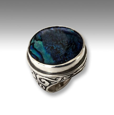 Gypsy ring, silver Ring, hippie ring, gemstone ring, blue shell ring, boho ring, bohemian ring, unique ring - A dream on our way  R2197