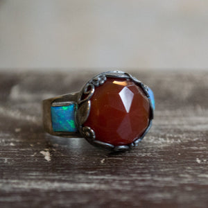 Carnelian ring, opal ring, silver ring, multistone ring, boho ring, gypsy ring, bohemian ring, stone ring - The way I look at you  R2265