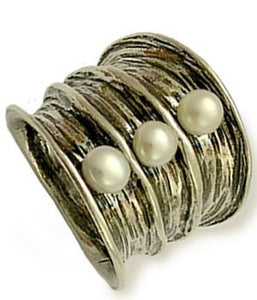 pearl ring, silver band, bohemian jewelry, Wide Band, large ring, statement ring, cocktail ring, unique band - Bubbling emotions R1483-1
