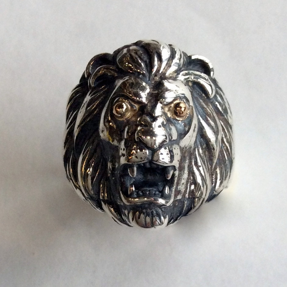 Lion Ring, oxidized lion ring, Silver Gold chunky ring, statement ring, large, men ring, unisex ring, two tones ring - Good times  R2144