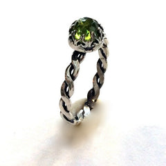 Sterling silver peridot ring, stacking ring, August birthstone ring, birthstone ring, engagement ring, Crown ring - Our Dream R2066