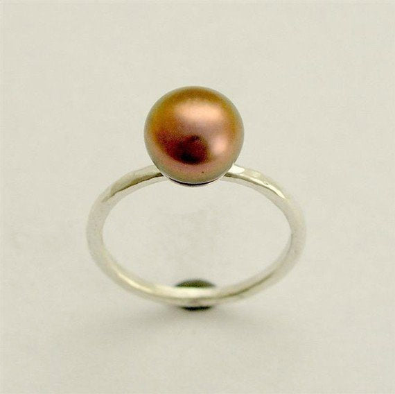 Solid yellow gold engagement pearl ring, June birthstone - Young love RG1533
