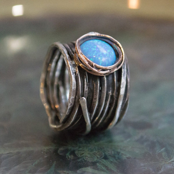 Opal Ring, Wide Ring, Gypsy ring, wire Wrap Ring, statement Ring, cocktail Ring, silver ring, alternative ring - Imagine life in peace R1505