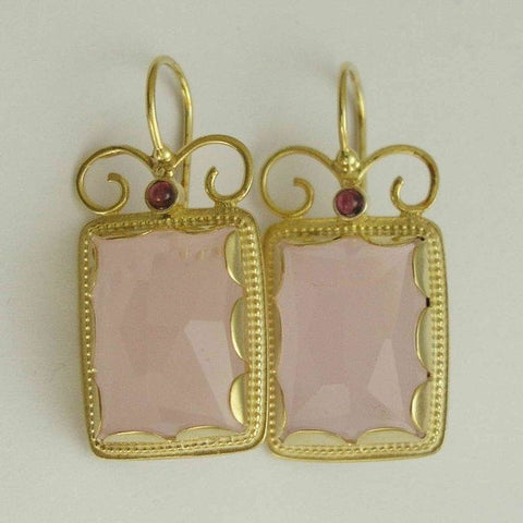 Solid gold earrings, Bridal rose quartz earrings, stone earrings, garnet earrings, wedding earrings, drop earrings - Once upon a time EG8837