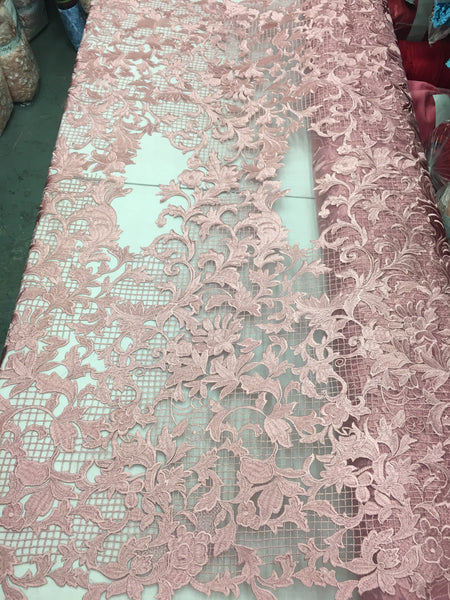 Sold By The Yard Pink Lace Fabric Corded Flowers Embroidery With Leafs For Wedding Dress