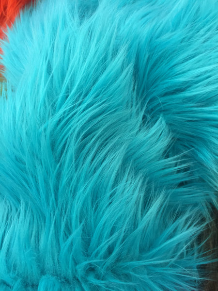 Faux Fake Fur Solid Mongolian Long Pile Fabric / Turquoise/ Sold By The Yard