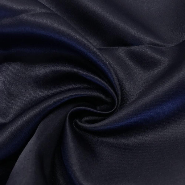 "Navy Matte Satin (Peau de soie) Dutchess Satin Fabric 60"" Inches 100% polyester By The Yard For Blouses, Dresses, Gowns and Skirts."
