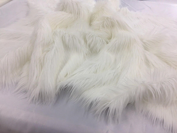 Luxurious Faux Fur Fabric Mongolian Design White Sold By Yard