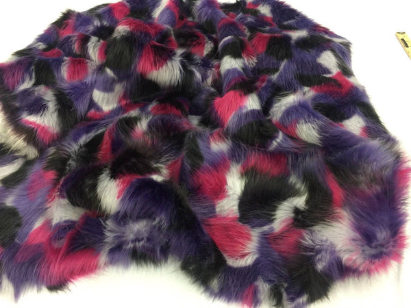 Supreme Faux Fur Fabric Multicolor Purple Fuschia By Yard