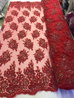 Red Bridal Beaded - Hand Embroidered With Basins And Diamonds For Veil Mesh Dress Top Wedding Decoration By The Yard