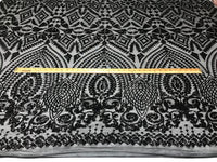 Sequins Fabric - Black 4 Way Stretch Embroider Power Mesh Dress Top Fashion Prom Wedding Decoration By The Yard