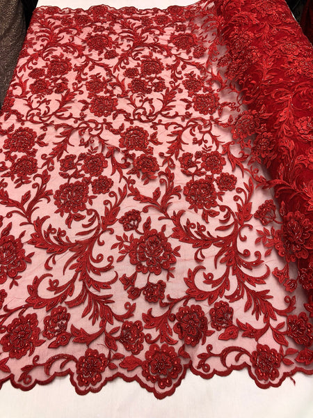Shop Lace Fabric Beaded Floral RED - Luxury Wedding Bridal Veil Hand Embroidery Lace Sequins/Beads For Mesh Dress Top Wedding Decoration By The Yard