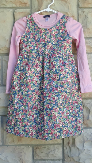 Girls floral jumper country blue and pink