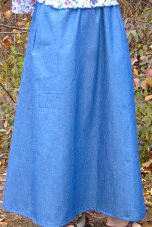 Plus Size Long Skirt Denim No Slit Sizes 1Xl-4XL Calf Length