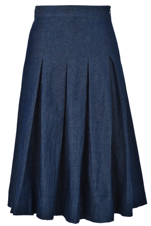 Knee length pleated denim skirt with side zipper
