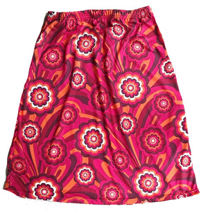 Retro print skirt -Pink, red and orange