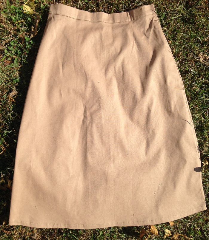Long Fitted A-line Skirt -tan -size 10