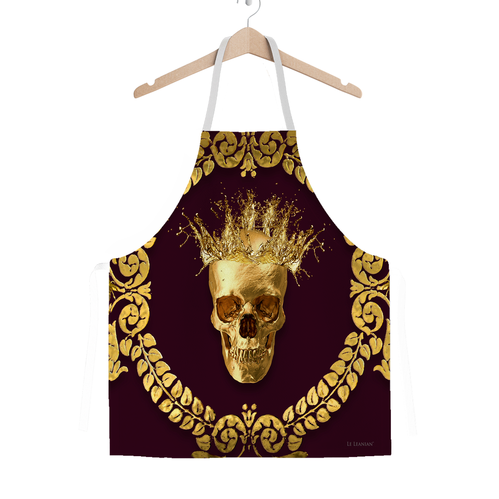 Classic Apron-Gold SKULL and Crown-Gold WREATH-Color EGGPLANT WINE, WINE RED, BURGUNDY, MAROON, BLOOD PURPLE