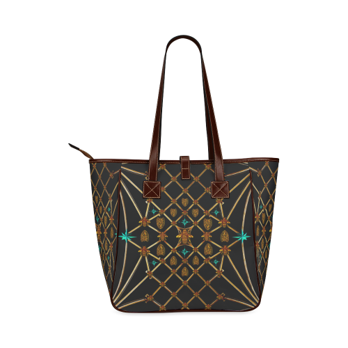 Women's Honey Bee, Ribs, Blue Star Pattern- Shoulder Tote in Color BLACK