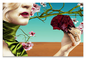 Surreal Portrait of Woman Eating a Steak Under Almond Blossoms in the Desert.