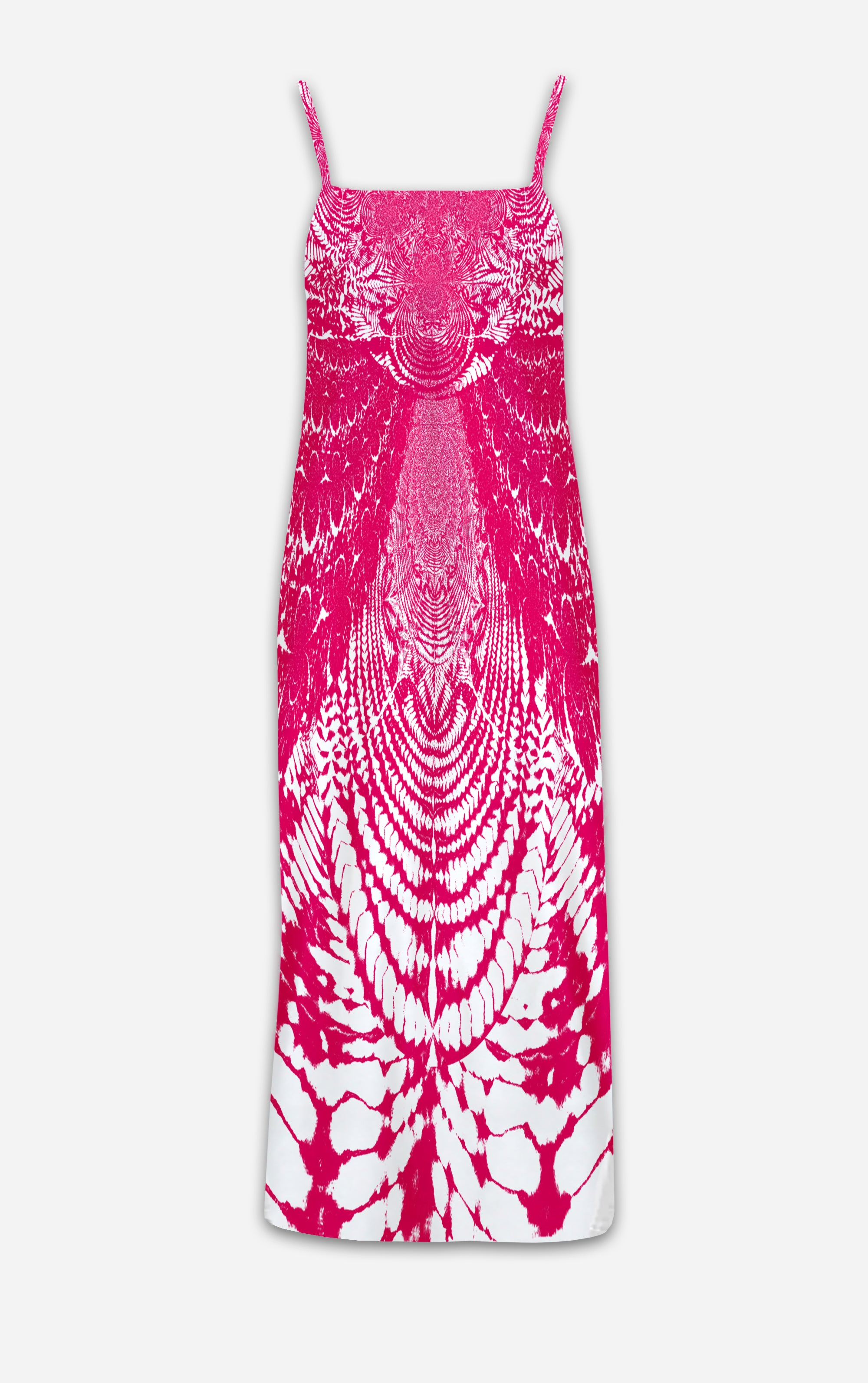 Not Ya Mamas Tie Dye- French Gothic V Neck Slip Dress in Bold Magenta | Le Leanian™