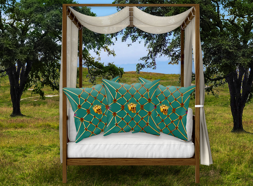 Gilded Skull & Honey Bee Satin Pillowcase-Jade Blue Green