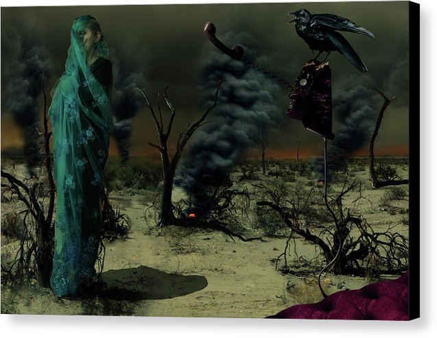 Mother Wrapped in Byzantine Blue Lace Fabric in an Apocalyptic setting with Spot Fires in the Background and a Crow Perched on an Analog, off the hook, Phone- Fine Art Canvas Print
