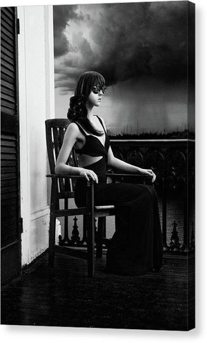 Vertical Black & White of Woman on Antebellum Porch in Louisiana with Lenses for Eyes-Recording Memories of the Thunderstorm-Fine Art Canvas Print