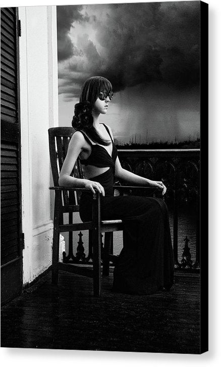 Vertical Black & White of Woman on Antebellum Porch in Louisiana with Lenses for Eyes-Recording Memories of the Thunderstorm- Fine Art Canvas Print