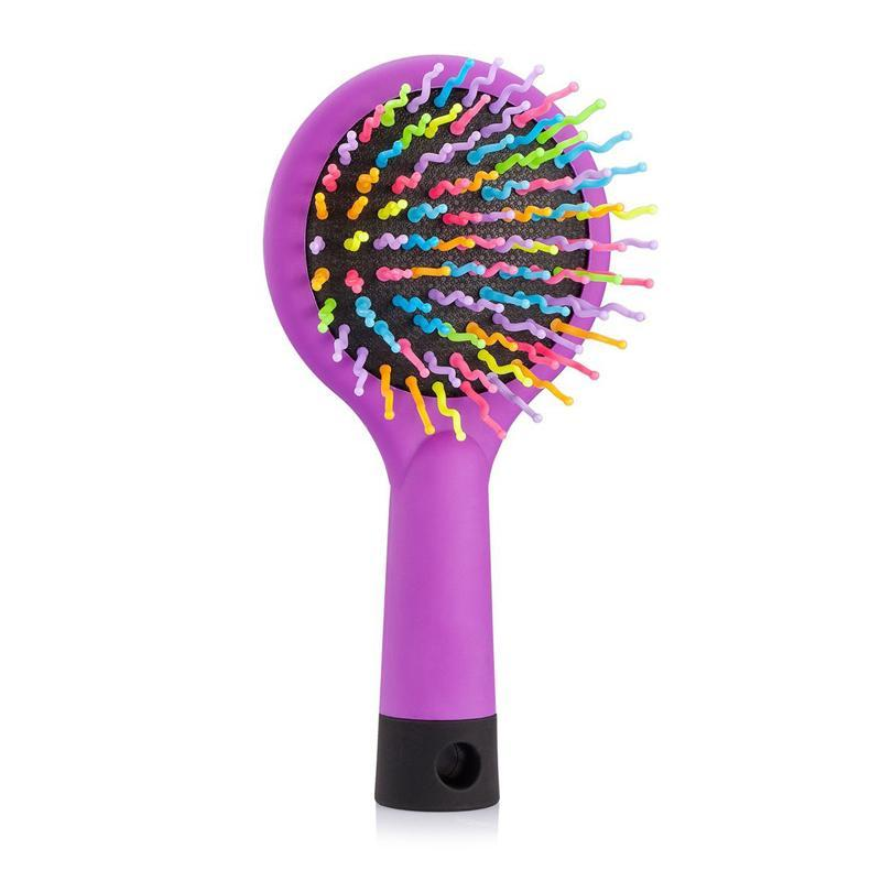 Detangling Massaging Hair Brush with Mirror - Rainbow Comb for Adults & Kids- Anti Static Soft Bristle