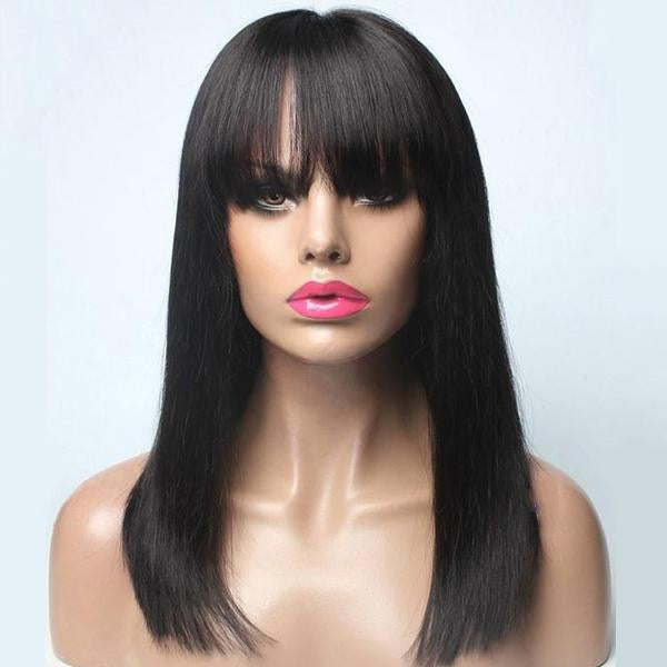 Black Bob Straight with Flat Bangs | Japanese Fiber Lace Front Wig (Base Cap)