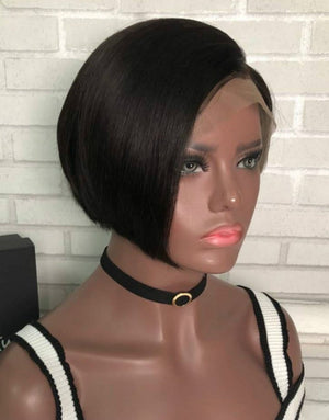 Beveled Short Wigs  Lace front wig synthetic wig-Bod013