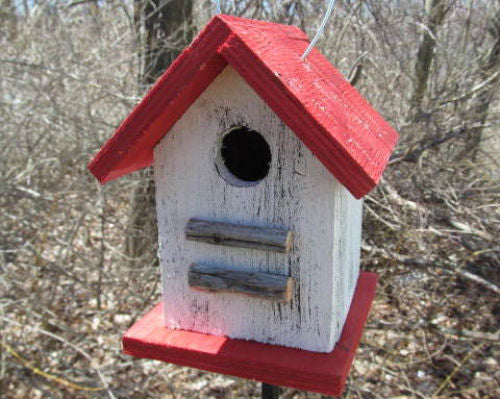 Song Bird Birdhouse White Red Fully Functional Hand Crafted