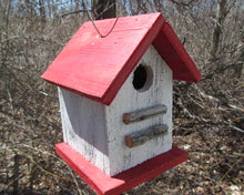 Load image into Gallery viewer, Song Bird Birdhouse White Red Fully Functional Hand Crafted